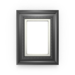 Black picture frame isolated on white background. 3d rendering