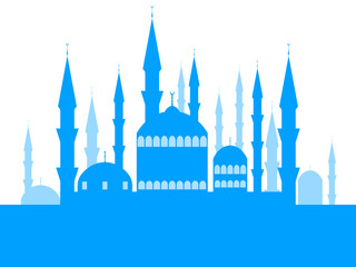 Mosque with towers, the place of the Muslim faith. Ramadan Kareem. Muslim festival of lights. Celebratory banner. Vector illustration