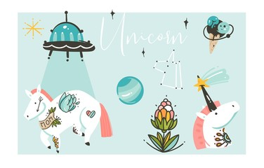 Hand drawn vector abstract graphic creative artistic cartoon illustrations collection set with unicorns with old school tattoo,flowers,galaxy planets and ufo spaceship isolated on white background