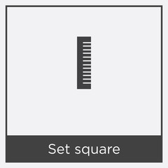 Set square icon isolated on white background