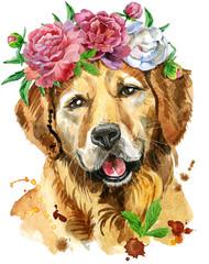 Watercolor portrait of golden retriever with flower