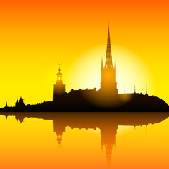 Stockholm skyline sunset background illustration