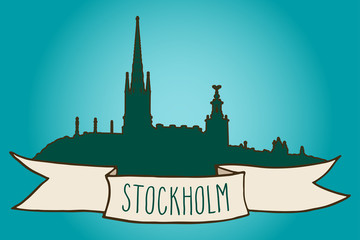 Stockholm skyline illustration