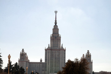 Moscow State University building in Russian capital front view in winter day