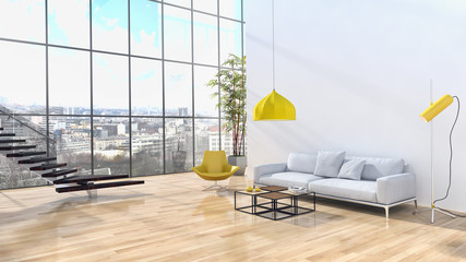 Modern bright interiors apartment 3D rendering illustration