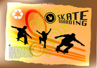 Three Skateboarders Abstract Background