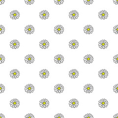 Daisy hand drawn pattern on white background . Vector illustration.
