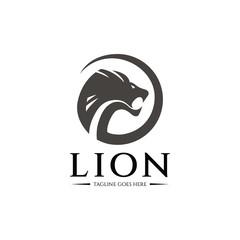 Lion head logo design template. Vector illustration