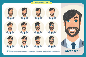 Set of male facial emotions.Face expressions of a man.Flat cartoon character. Businessman in a suit and tie. Isolated vector on white.