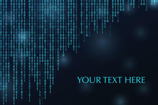 Digital binary code zero one matrix dark background.1.0. Banner, pattern for Technology computer graphic website internet. Space for yor text