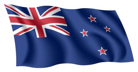 New Zealand flag. Isolated national flag of New Zealand. Waving flag of New Zealand. Fluttering textile kiwi flag.