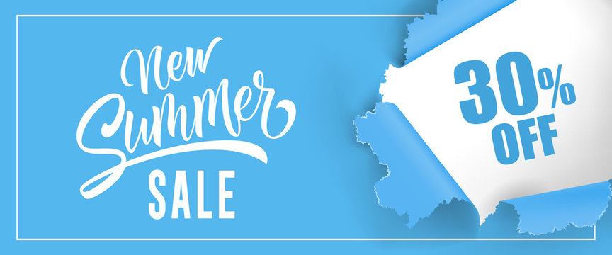 New summer sale Thirty percent off lettering. Blue background with ripped round hole. Handwritten text, calligraphy. Can be used for greeting cards, posters and leaflets