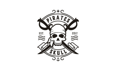 Skull with Crossing Swords for Pirates emblem logo design inspiration