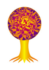 Tree of Life. Colorful tree. Symbolic pattern in bright colors. Vector graphics.