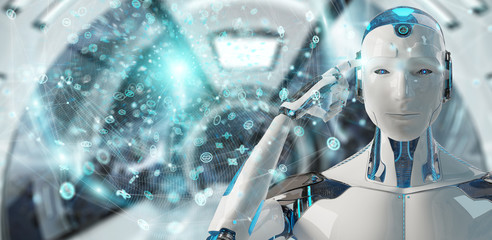 White male humanoid using digital global network 3D rendering