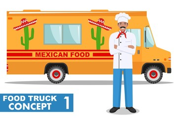 Flat design vector illustration of food truck and cook, head chef in uniform. Traditional Mexican street cuisine. Auto restaurant, mobile kitchen, hot fastfood, spicy food. Burrito, tacos, nachos.