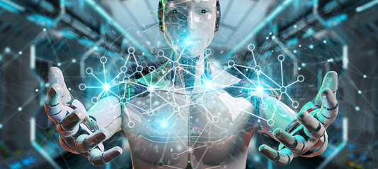 White man cyborg using digital network connection 3D rendering