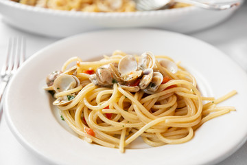 Spaghetti with clams, a typical Mediterranean food