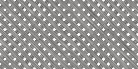 Grey Seamless Wood Lattice Background. Diagonal Wooden Planks Fence Panel Texture.