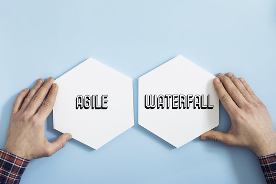 Top view of waterfall and agile project for your business,idea,industry. Concept of modern approach to management.