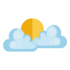 clouds sky with sun vector illustration design