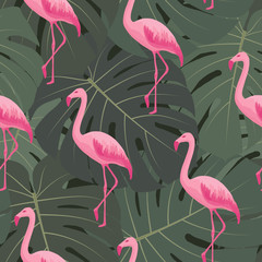 Canvas Prints Flamingo Exotic tropical seamless pattern with pink flamingos, green monstera leaves