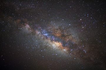 milky way galaxy with cloud and space dust in the universe, Long exposure photograph, with grain.
