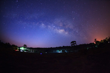 Landscape milky way galaxy with star and space dust in the universe, Long exposure photograph, with grain.