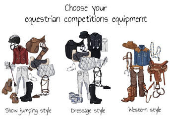 Vector colorful illustrations on the theme horse ammunition and rider outfit; set of groups of objects for equestrian sport competitions. Pictures contain realistic shadows and glare.