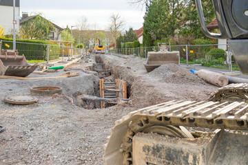 Auswechseln der Kanalisation im Wohngebiet