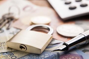 Padlock and money. Concept money security