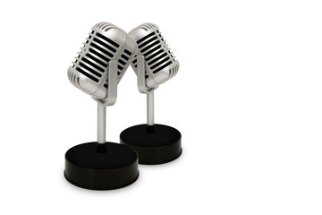 Desktop Microphone Separated from a white background. Vintage style. with clipping path.