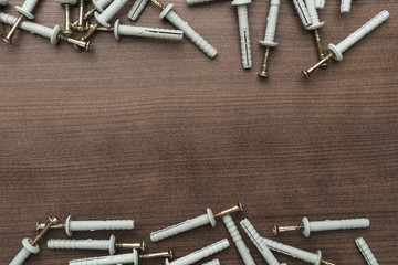 new dowels on the wooden table background with copy space