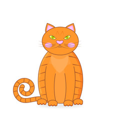 Red Grumpy British male cat on white background. Cartoon character orange British cat.  Vector Illustration EPS10.