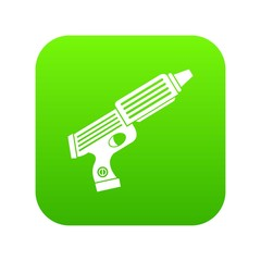 Plastic gun toy icon digital green for any design isolated on white vector illustration