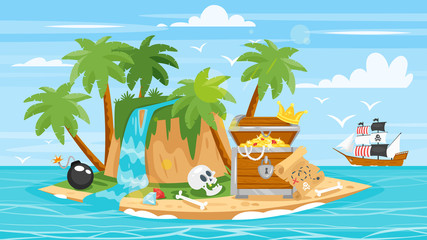 pirate ship, islan,  treasure chest