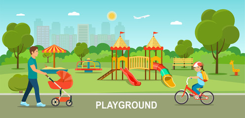 Children playground. Father walking  with a stroller  and Child girl with backpack riding bike in the Park on sunny day. Vector flat style illustration