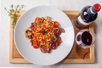 tagliatelle with beef Mediterranean style
