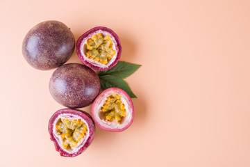 Passion fruit on yellow background