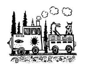 drawing picture of a fantastic funny steam locomotive with one car carrying a crocodile and a bull, sketch, comic hand-drawn ink vector illustration