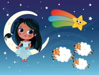 Little girl illustration in night and sleep theme. (Vector illustration)