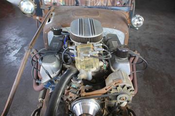 Old car engine, Vintage classic retro