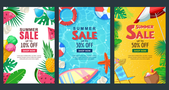 Summer sale vertical banner set. Vector season poster template. Tropical backgrounds.