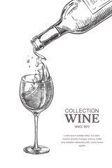 Wine pouring from bottle into glass, sketch vector illustration. Hand drawn label design elements