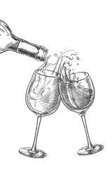 Two glasses with drinks. Wine pouring from bottle into glass, sketch vector illustration.