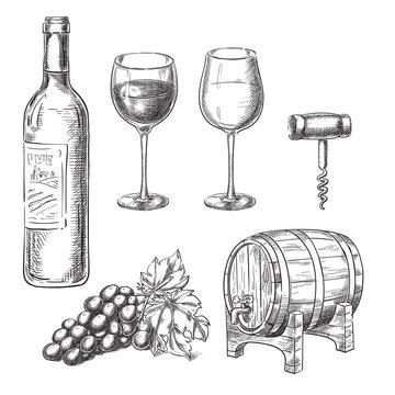 Wine sketch vector illustration. Bottle, glasses, grape vine, barrel, corkscrew, hand drawn isolated design elements.