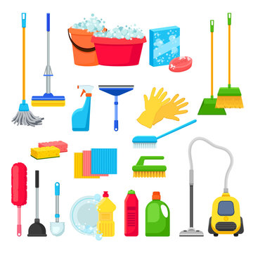 Cleansers and detergent in bottles, house cleaning tools and supplies for housework. Vector isolated design elements