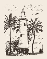 Hand drawn illustration of lighthouse with palm trees. Drawing sea tower.