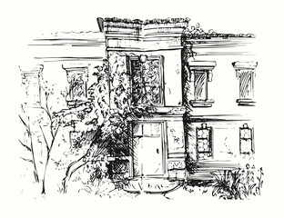 Sketch of building with yard. Drawing illustration of house.