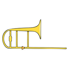 Color hand-drawn musical instrument - trombone.